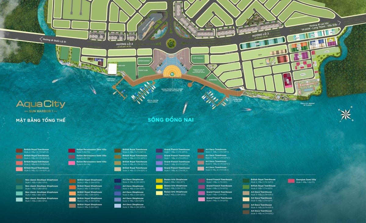 mặt bằng tổng thể sun harbor 1 aqua city